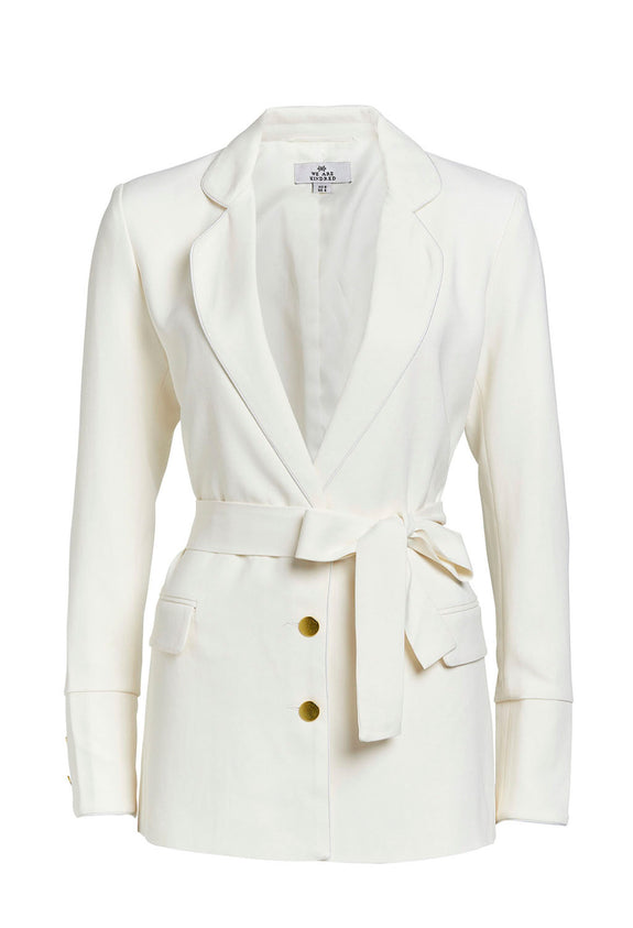 Style Odyssey | Betsy Blazer by We Are Kindred A chic alternative to a dress at that wedding or cocktail party. This uber cool jacket by Australian brand We Are Kindred has a chic and flattering length and tie around the waist. Paired with the Betsy pants or worn over denim, this ivory coloured blazer is super versatile