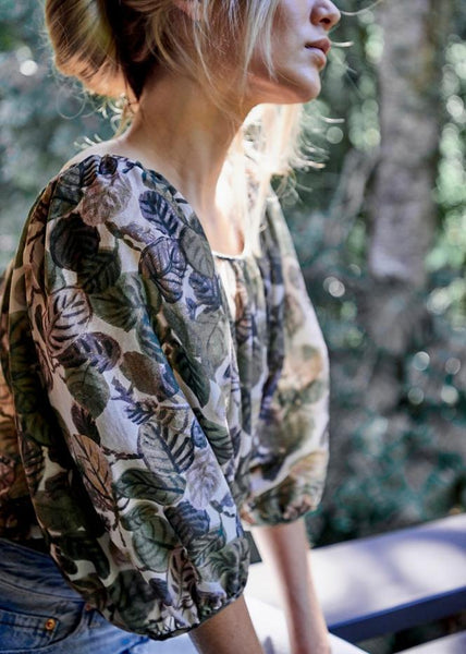 Ballet Blouse in Leaf Print