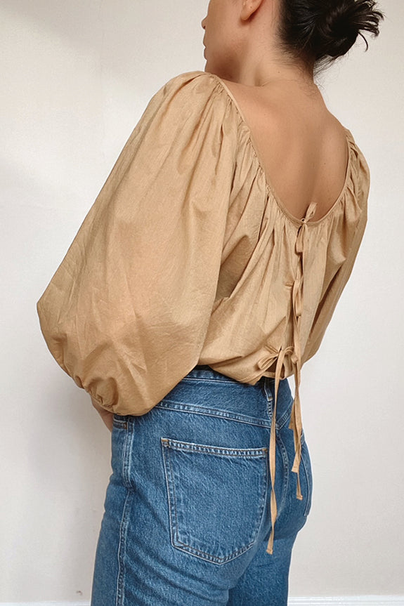 Ballet Blouse in Camel Cotton Voile