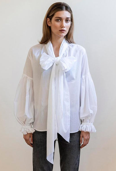 Mahsa Bow Blouse in white | Style Odyssey