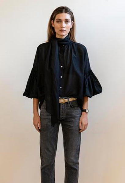 Mahsa | Bow Blouse in Black | Style Odyssey