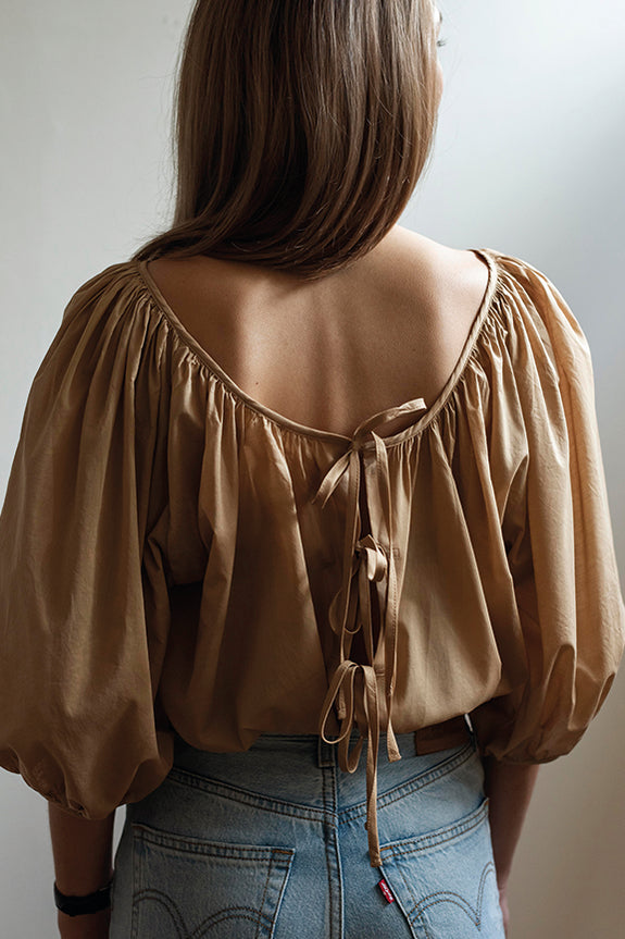 Mahsa Ballet BLouse in Camel | Style Odyssey