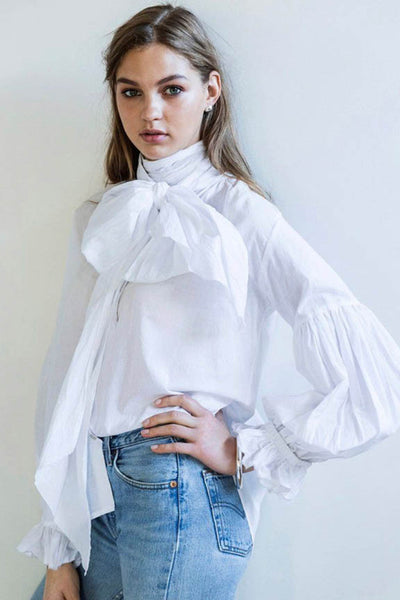 Bow Blouse in White Cotton Voile