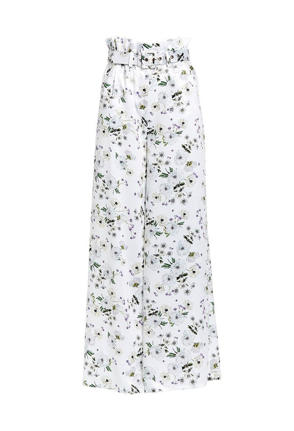 Style Odyssey | Frenchie Palazzo Pant in White Bouquet by We Are Kindred These wide leg pants in Australian brand We Are Kindred's iconic floral print are super flattering. They sit high on the waist and have a delicate paper bag feature that is cinched in with a self covered belt. This style has functional pockets on the front and a fly front closure.