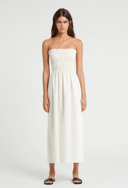 SIR The Label Alena Maxi Strapless Dress in Ivory Style Odyssey