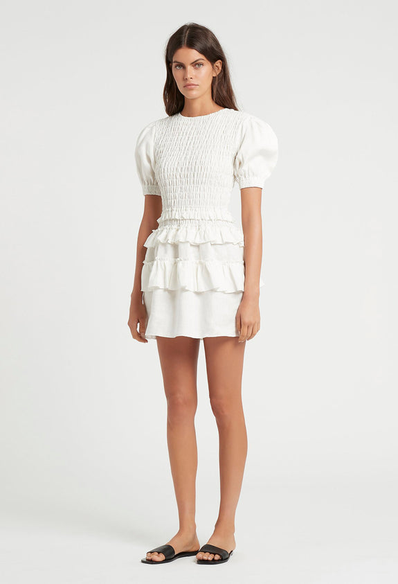 SIR The Label Aster Tee Mini Dress in Ivory | Style Odyssey