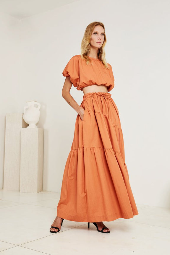 Tiered Skirt in Penthouse Orange