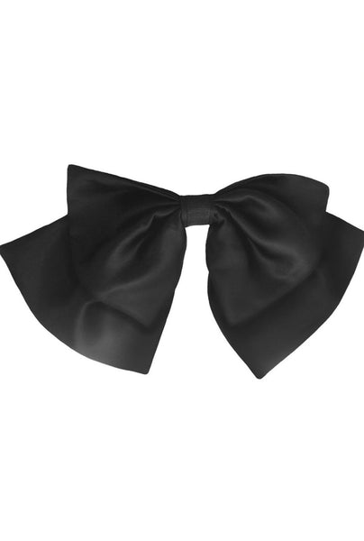 Oversized Bow in Black Satin