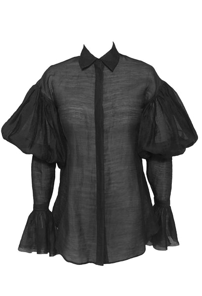 The Creator Shirt by Héxié in 100% cotton linen. With dramatic puffy sleeve detail and a flared cuff. Style Odyssey