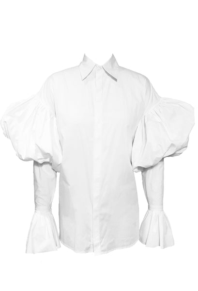 Style Odyssey The Creator Shirt by Héxié with statement puffy sleeves (bishop sleeves) and flared cuffs in 100% white cotton. Style Odyssey