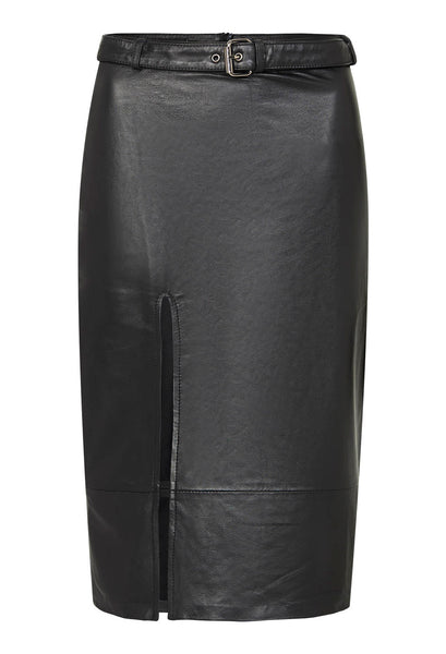 Mid waist split leather skirt by Zaliah in 100% leather. Style Odyssey
