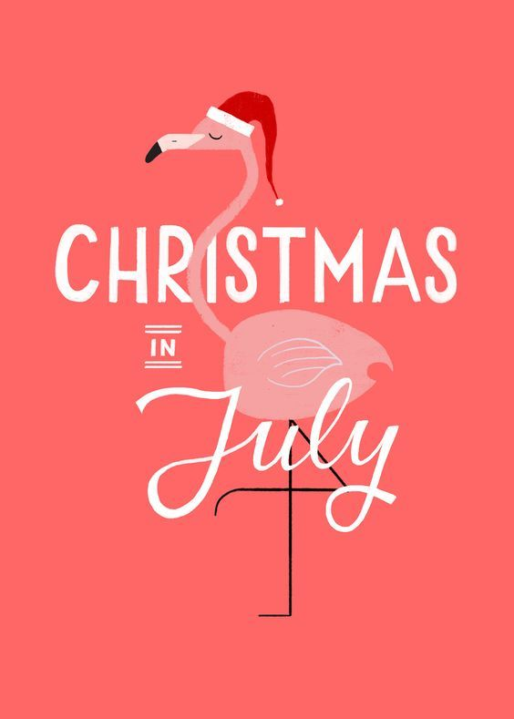 "pink flamingo with Santa hat, saying ""christmas in july"""