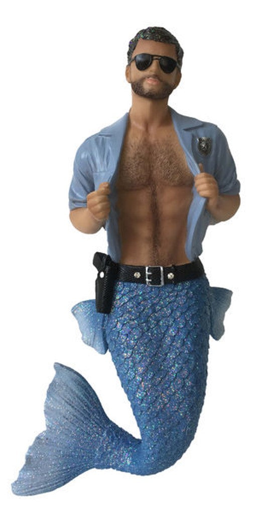 December Diamonds Strip Search merman ornament he has a tool belt and wearing all light blue