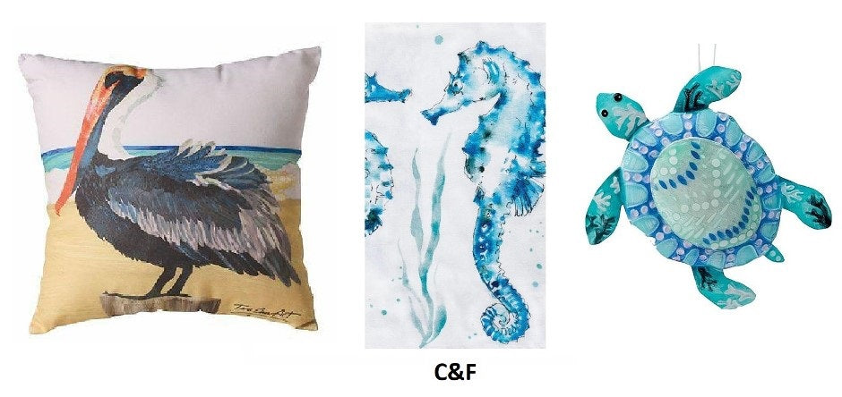 3 photos,  square pillow with pelican image, white dishtowel with blue seahorse and blue sea turtle ornament