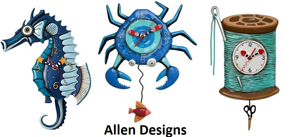 3 photos of pendulum clocks: blue seahorse, blue crab and spool of thread with needle