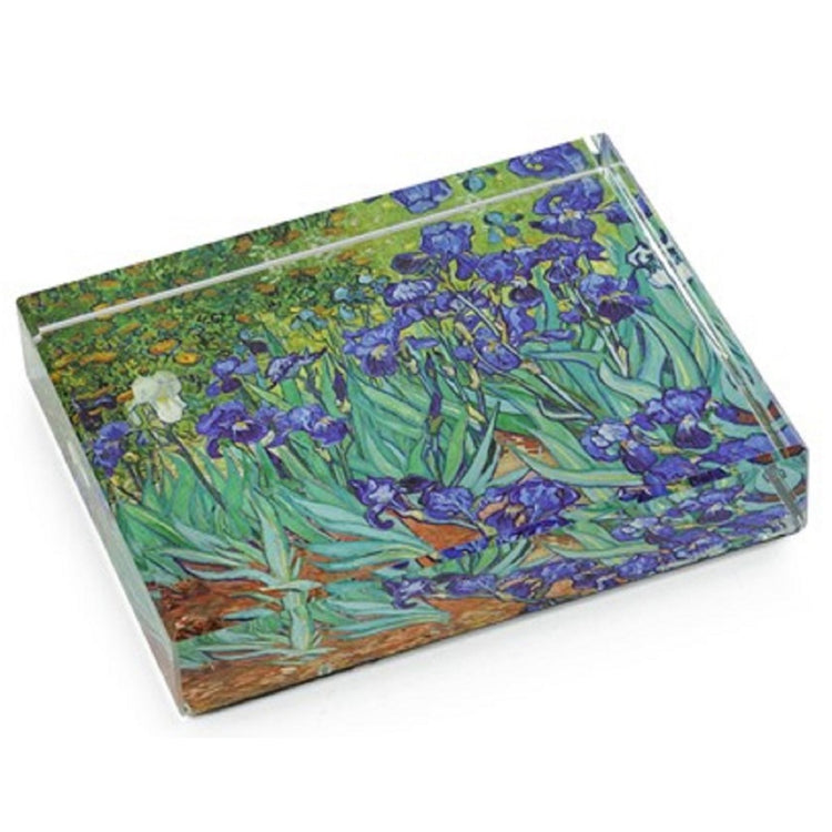 Deskpop Handcut Crystal Paperweight With Felt Bottom Van Gogh Irises