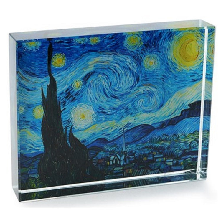 Block type crystal square to rectangle.  Clear glass with Starry Night print under.