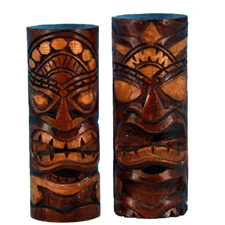 2 Hand Carved Tiki Bar Totem Statues 8 Inches
