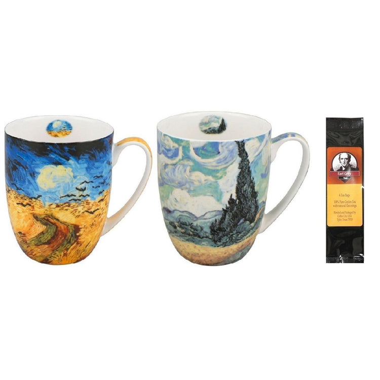 2 mugs with a black package of 6 teabags. 1 mug shows Van Gogh Wheatfields & 1 shows Van Gogh Wheatfields With Crows.