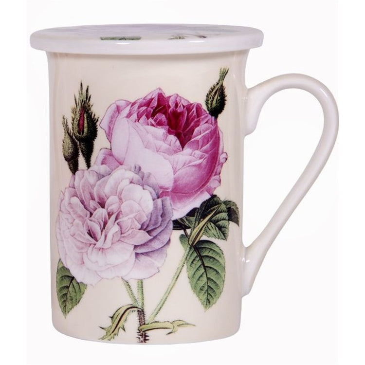Redoubt Rose Design Covered Cream Color Tea Cup 10 Ounce