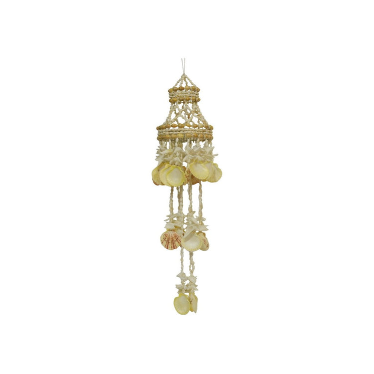 Natural shell chandelier shaped wind chime.