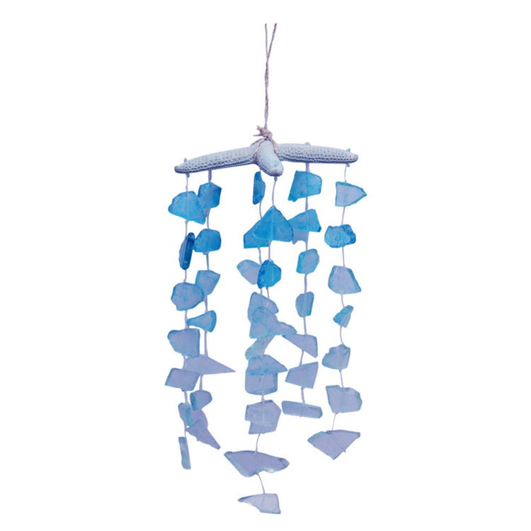 Starfish top mobile or chime. Blue and white shaded sea glass chimes.
