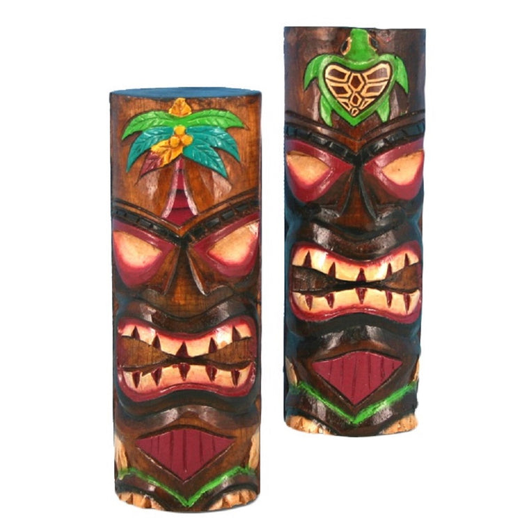 2 Hand Carved Painted Tiki Bar Totem Statues 23393 8 Inches