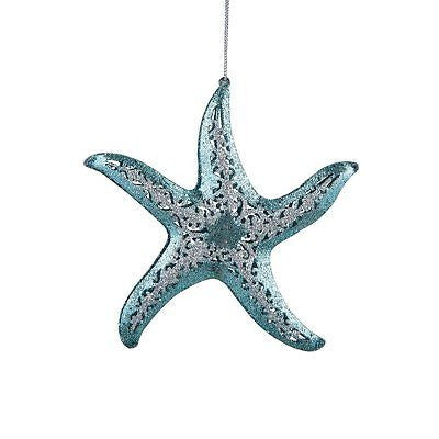 Teal starfish shaped ornament with pierced metal.