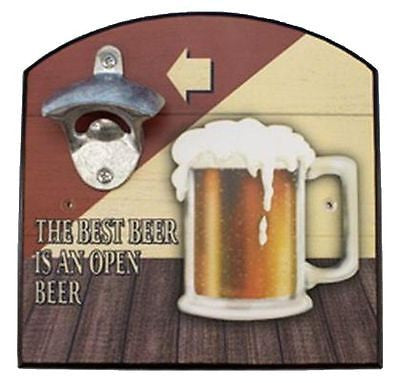 "Square shaped wood with arch top.  metal beer opener attache.  Print of a pint of beer and text ""THE BEST BEER IS AN OPEN BEER""."