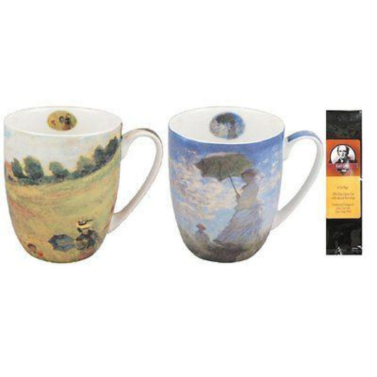 2 mugs with a black package of 6 teabags. 1 mug shows Monet Poppies and 1 mug shows Monet Woman with a Parasol.