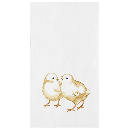White flour sack kitchen towel with 2 embroidered yellow chicks.