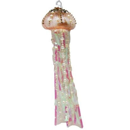 peach jellyfish head with pink, white, & pearl strands.