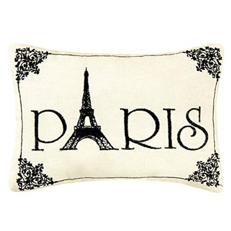 Cream rectangular pillow with black embroidered 'Paris'. The A is the Eiffel tower.
