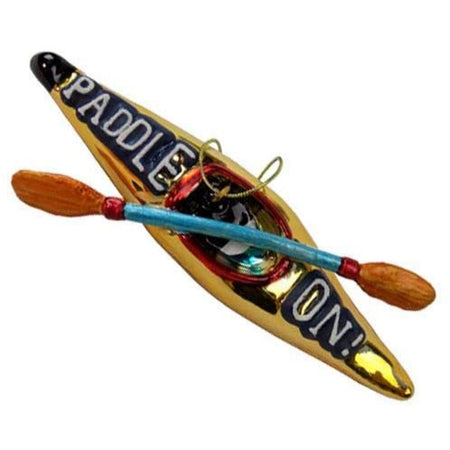 "Canoe with paddles shaped Christmas ornament.  Text on canoe ""PADDLE ON!""."