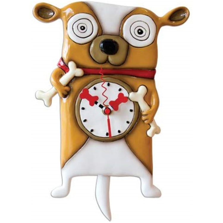 Light brown & white dog holding bones with a red collar. Clock arms are red bones & pendulum is a white tail.