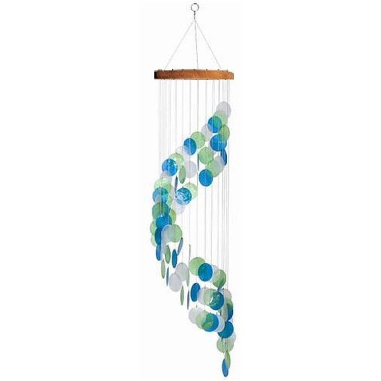 Spiral capiz chime in shades of blue with a wood top.