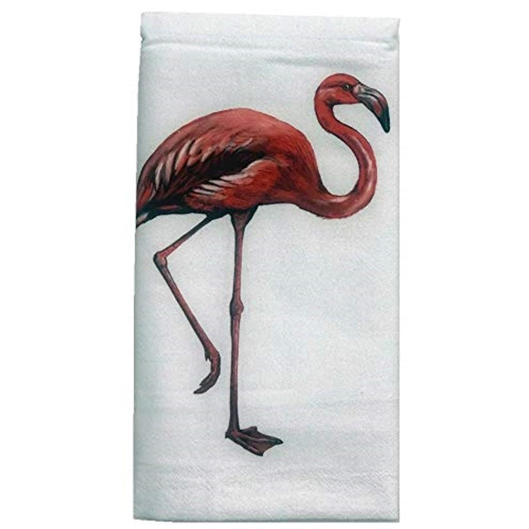 White flour sack kitchen towel imprinted with standing pink flamingo.