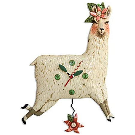 Cream llama with pink hibiscus flower & leaves.
