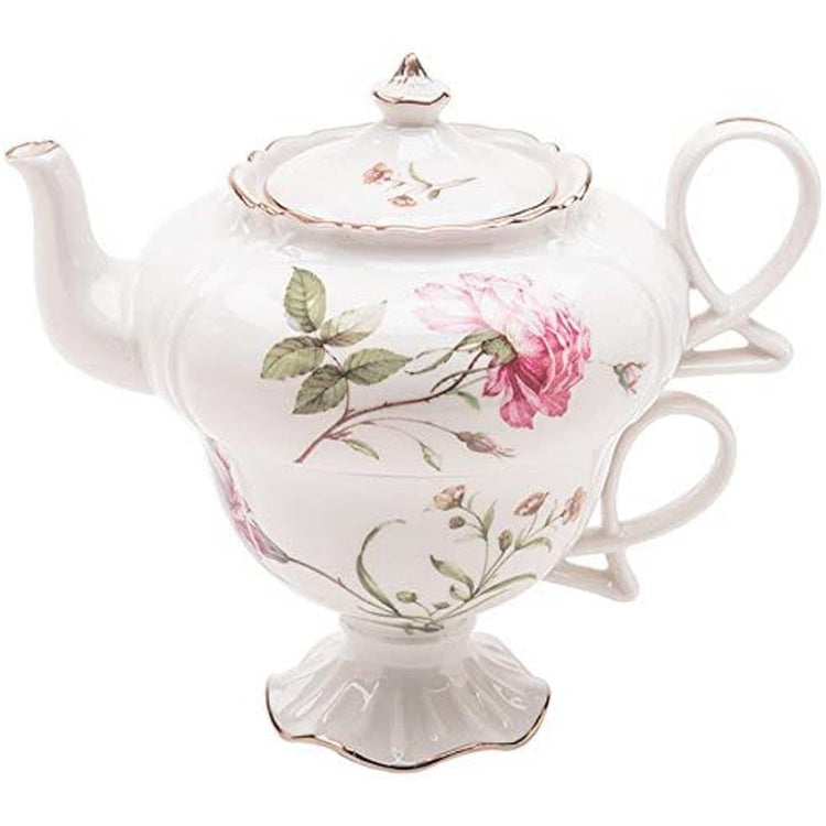 White teapot with gold trim & pink roses with green leaves.