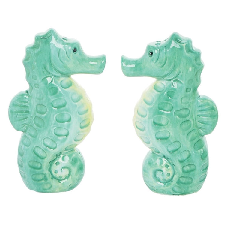 Seahorse shaped salt and pepper Shades of teal to white.
