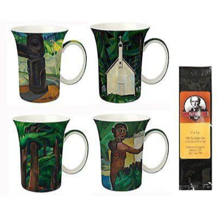 4 mugs & a black package of 6 tea bags. The mugs show Emily Carr paintings, mostly dark greens, browns, and white.