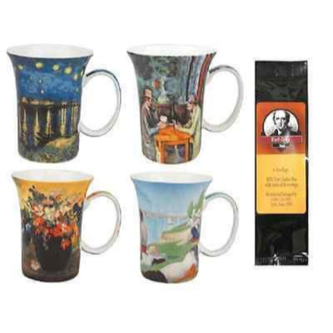 4 Post Impressionists Coffee or Tea Mugs in a Matching Gift Box and Tea Gift Package