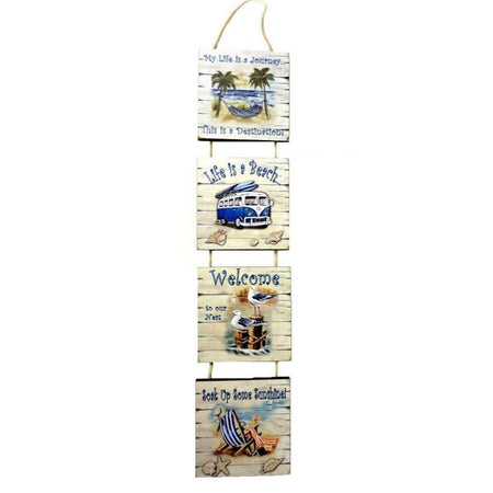 4 Beach Signs on Rope Hanger