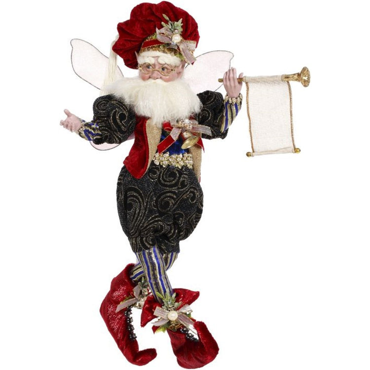 Male fairy figurine dressed in fancy green clothing, red boots, matching puff hat, carrying a horn.