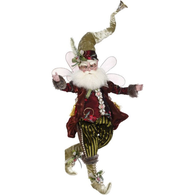 Male fairy figure with wings wearing red and green with tall hat with a bell on top.