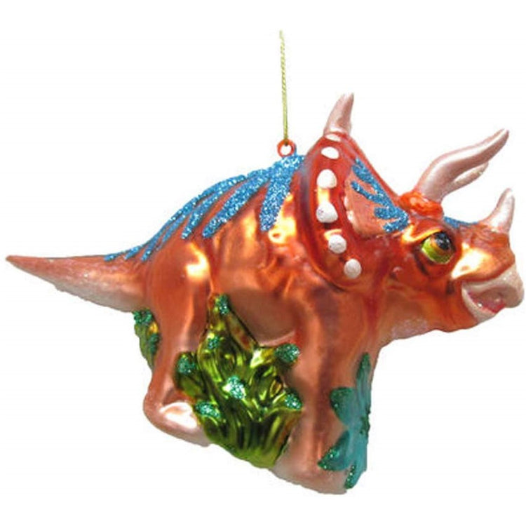 Triceratops shaped figurine ornament. Sades or orange copper and teal green and blue.