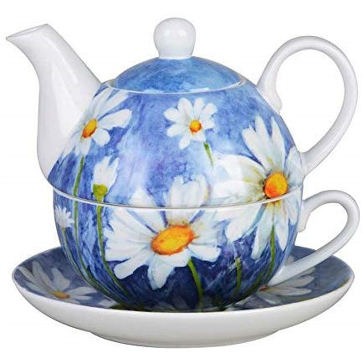 Blue with white daisy teapot, cup, and saucer.