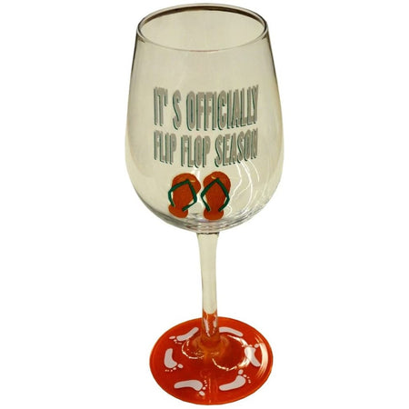 "Wine glass with a red stem, flip flops & ""it's officially flip flop season"" on the glass"