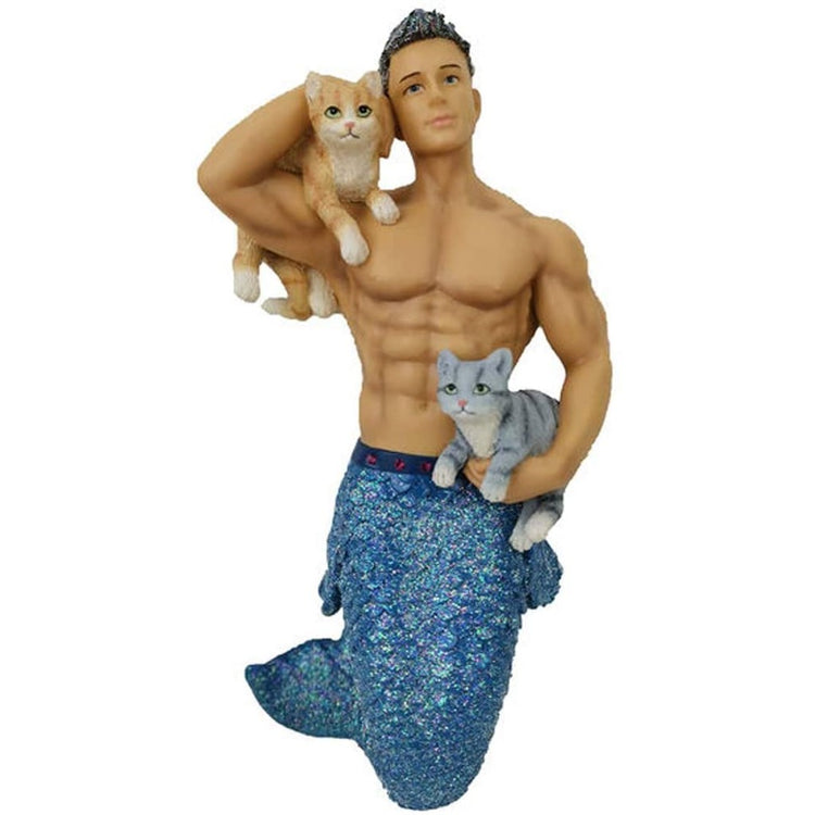 Merman figurine hanging ornament.  Holding 2 cats.