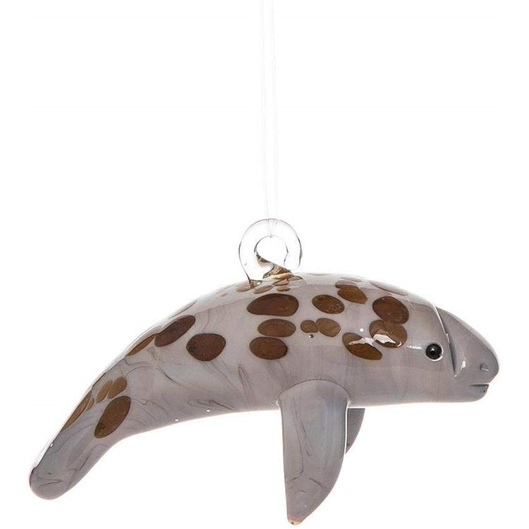 Manatee shaped Christmas ornament with clear hanger.  manatee is shade of grey with brown spots.